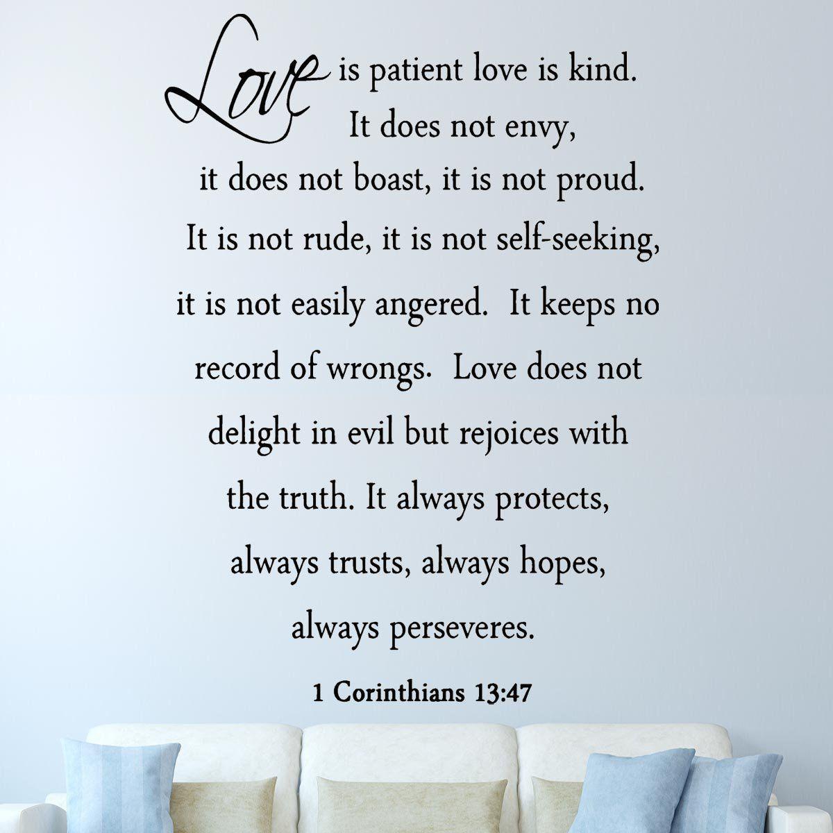 Vwaq Love Is Patient Love Is Kind 1 Corinthians 13 4 7 Vinyl Wall Decal Lip2 Version 2 Marriage Quotes From The Bible Love Is Patient Bible Wall Decals