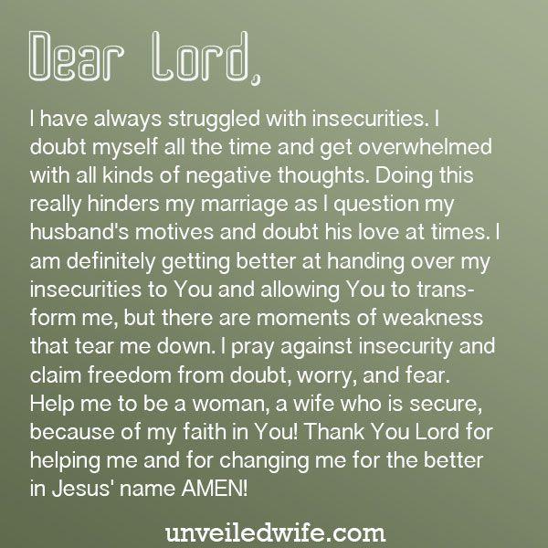 Prayer When Insecurities Rise Prayers For My Husband Prayer