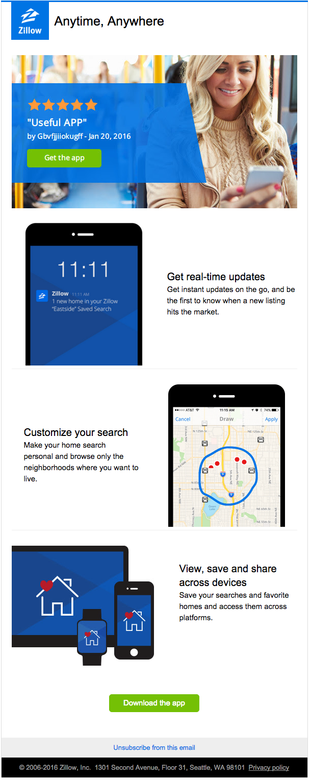 Zillow uses a custom LiveFeed to to display reviews from