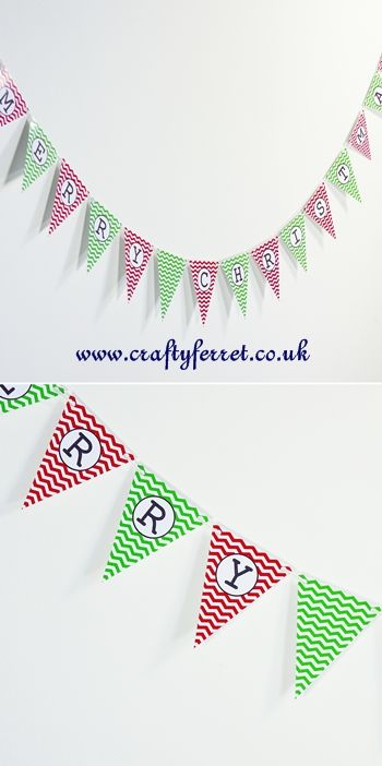 *FREE* Printable Chevron Christmas bunting garland in red and green { last minute decorating for breaki }