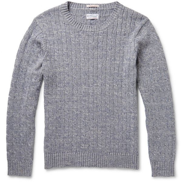 Gant Rugger Mélange Cable-Knit Cotton Sweater (€155) ❤ liked on Polyvore featuring men's fashion, men's clothing, men's sweaters, blue, mens chunky cable knit sweater, mens cable sweater, mens cable knit crew neck sweater, mens blue sweater and men's crewneck sweaters