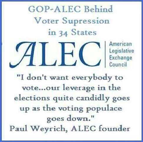 """GOP ~ ALEC Behind Voter Suppression in 34 States 