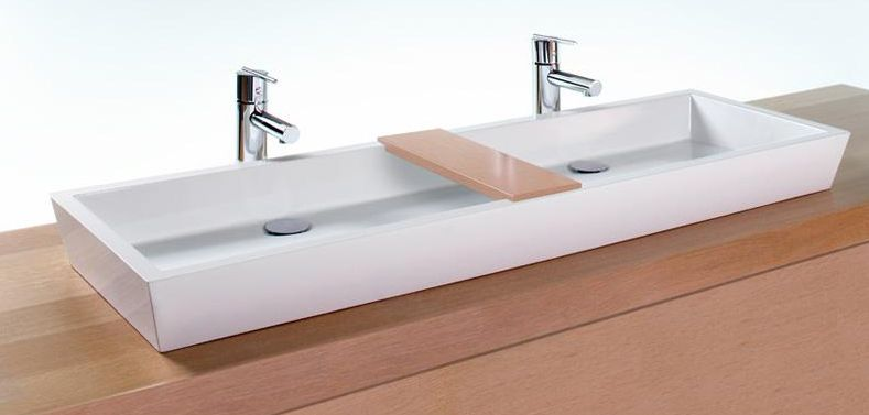 Double Faucet Trough Sink Narrow double vanity sink from Wetstyle s ...