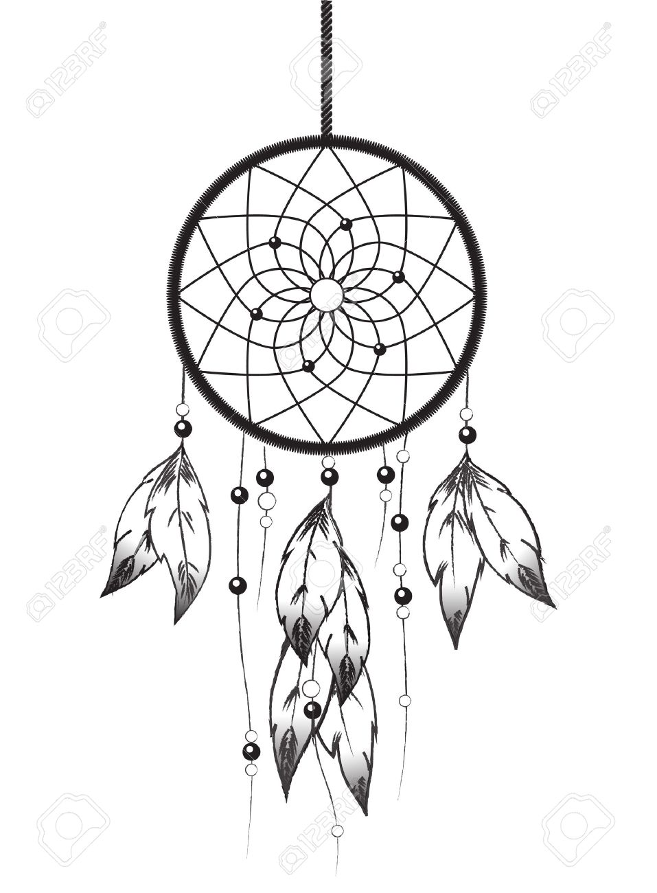 Black And White Illustration Of A Dreamcatcher Dream Catcher Art Dream Catcher Drawing Dream Catcher Tattoo Design