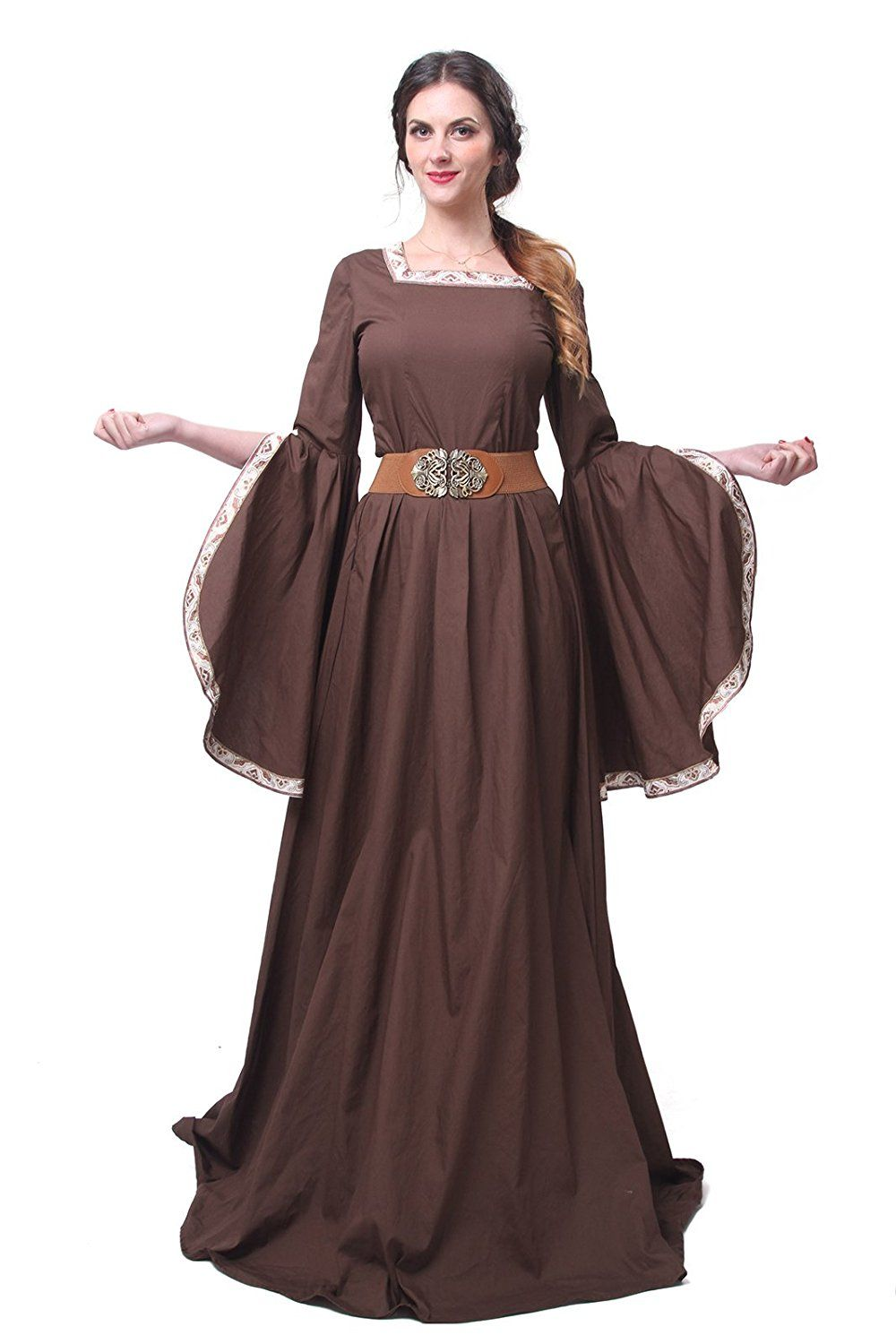 e0fc6c0b6f Women s Brown Square Neck Embroidered Trim Medieval Belted Palace Dress  Costume - DeluxeAdultCostumes.com