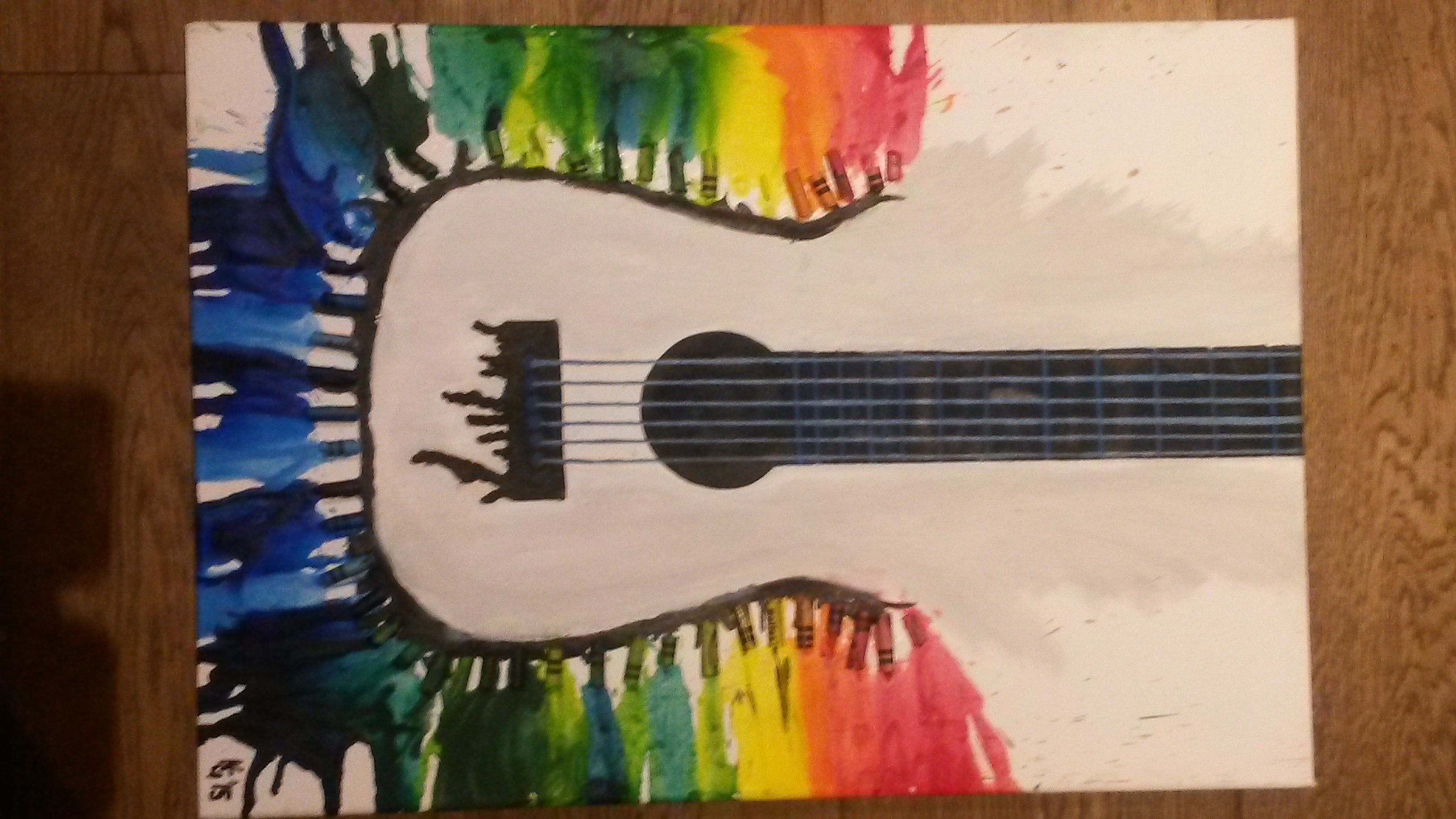 Guitar Abstract 40X60Cm Melted Crayons And Oils On Canvas 2014