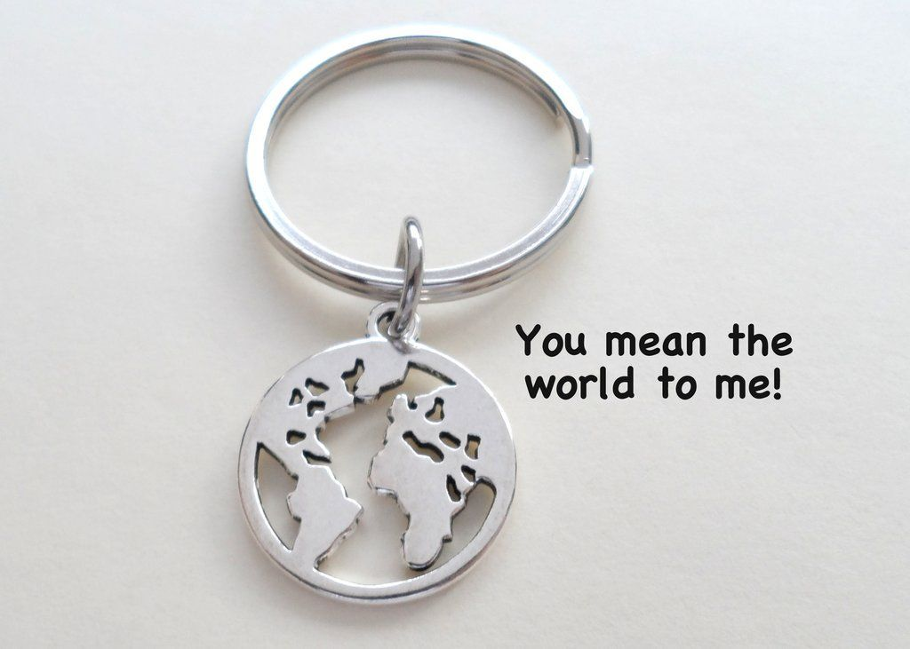 World Globe Necklace and Keychain Set You Mean The World To Me; Couples Keycha