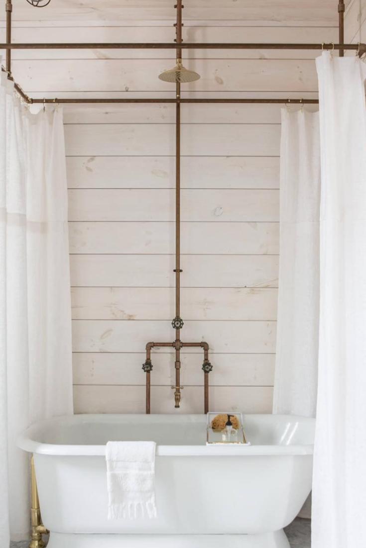 16 Rustic Bathroom Ideas Diy Shower Curtain Shower Tub Clawfoot Tub Shower
