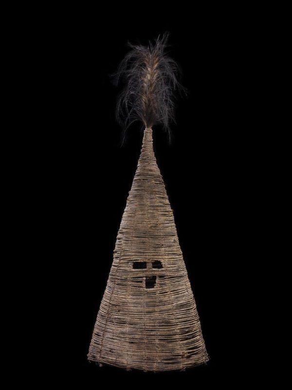 Helmet Mask Timp Sonk Mendi New Guinea Bamboo Rattan Bark Fiber