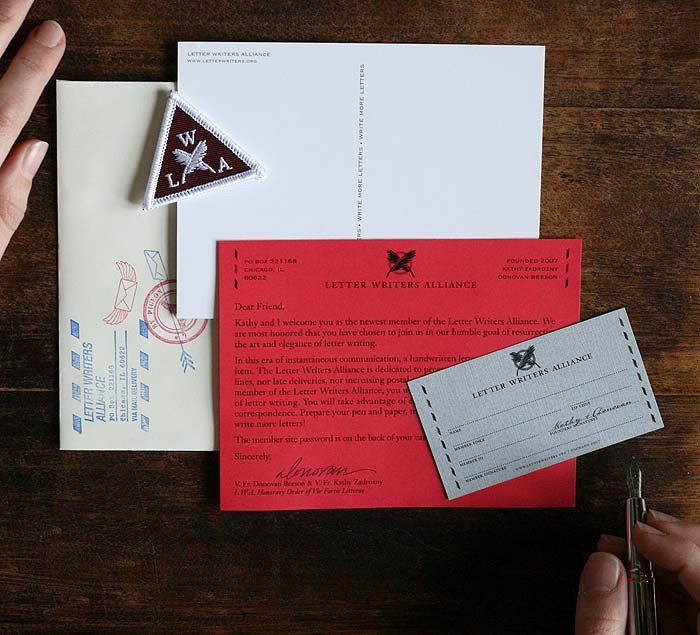 Letter Writers Alliance Membership Kit Items Spread Out  Special