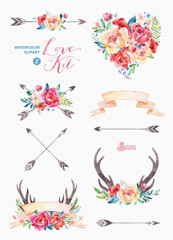 Love Kit 2 Watercolor Clipart Peonies Arrows Antlers Heart