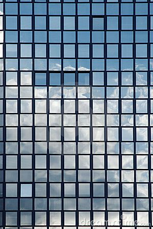 Sky reflection in windows of an office building | Facader ...