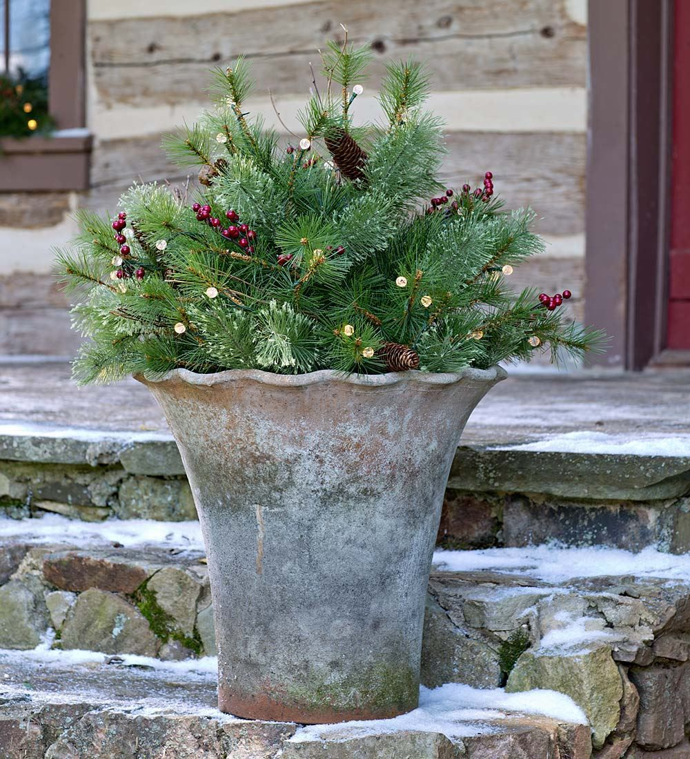 Lighted Holiday Urn Filler with Battery-Operated Auto Timer ...