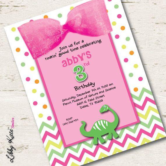 Girl dinosaur birthday invitation pink dinosaur by libbykatesmiles girl dinosaur birthday invitation pink dinosaur by libbykatesmiles 169 filmwisefo