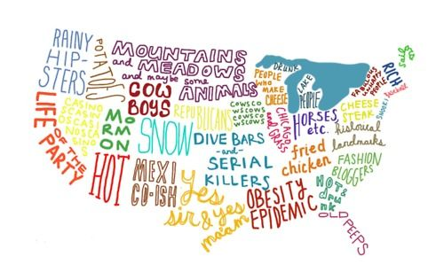 United States Stereotypes Map Tells It Like It Is Sjöar - Tumblr us map