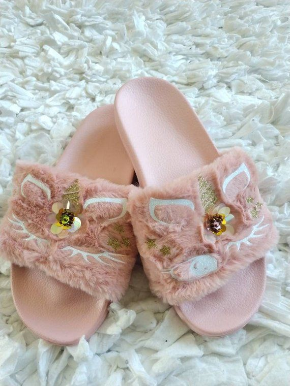 bab0c5172f1dc Light Pink Unicorn Slippers  Unicorn slippers  Kids fur slides  Kids ...