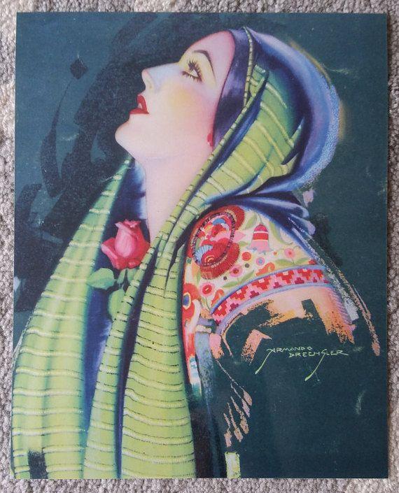 Vintage Mexican Calendar Art by Armando Drechsler  by MexiClacla