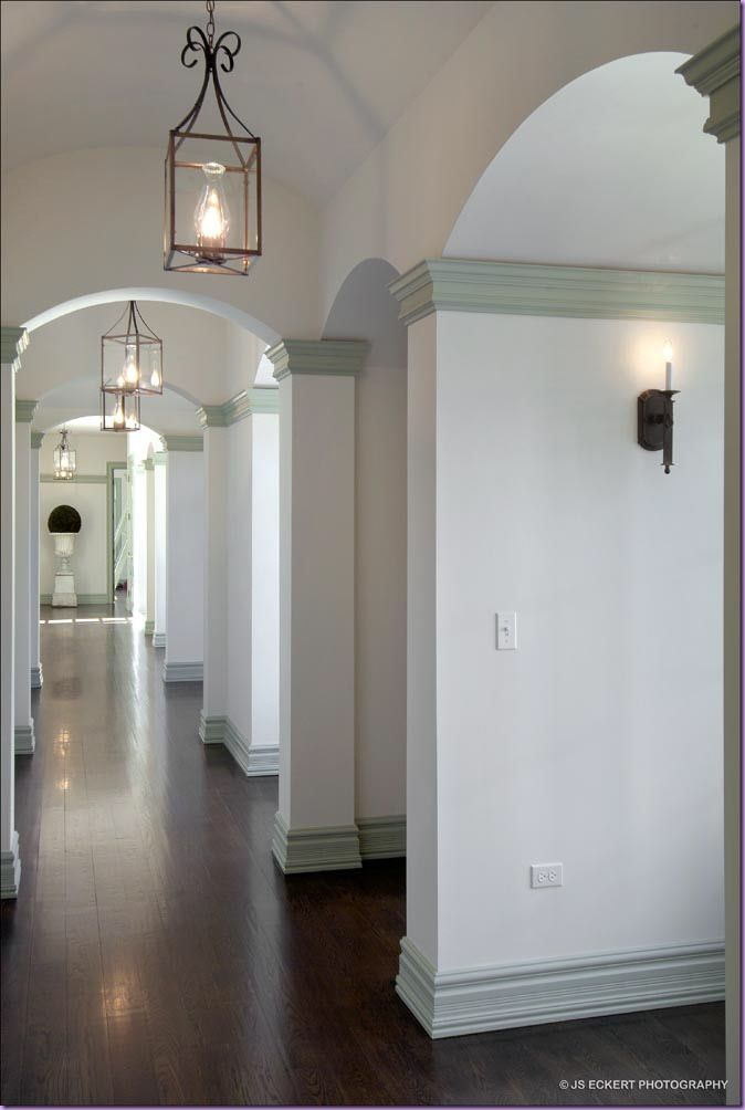 White walls grey trim love the look for a hallway keeping they grey theme but brightening it up for a small corridor