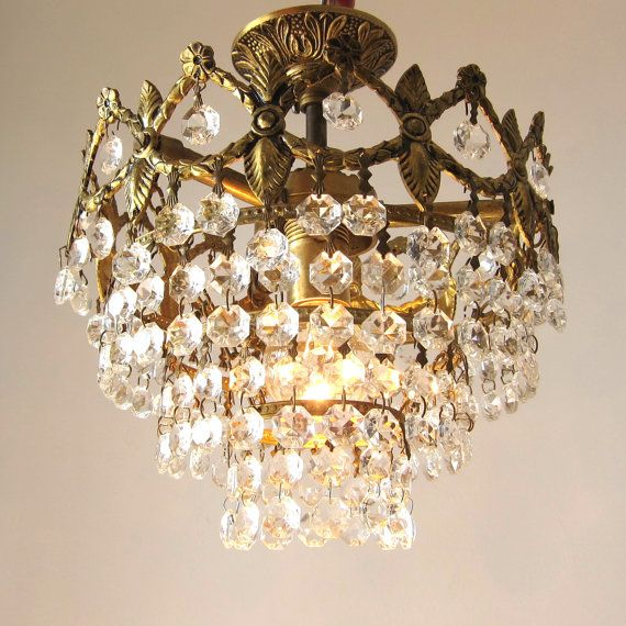 French Vintage Crystal Chandelier, RESTORED; Vintage Bronze and ...
