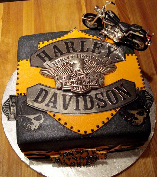 Happy Birthday Cake With Harley Davidson Touring Bike
