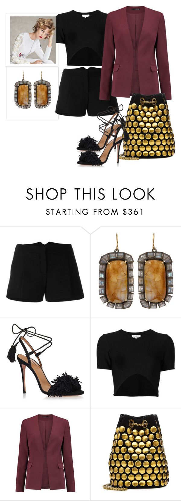 """""""Black shorts"""" by fashionrushs ❤ liked on Polyvore featuring Lanvin, Nak Armstrong, Aquazzura, Opening Ceremony, Theory and Jérôme Dreyfuss"""