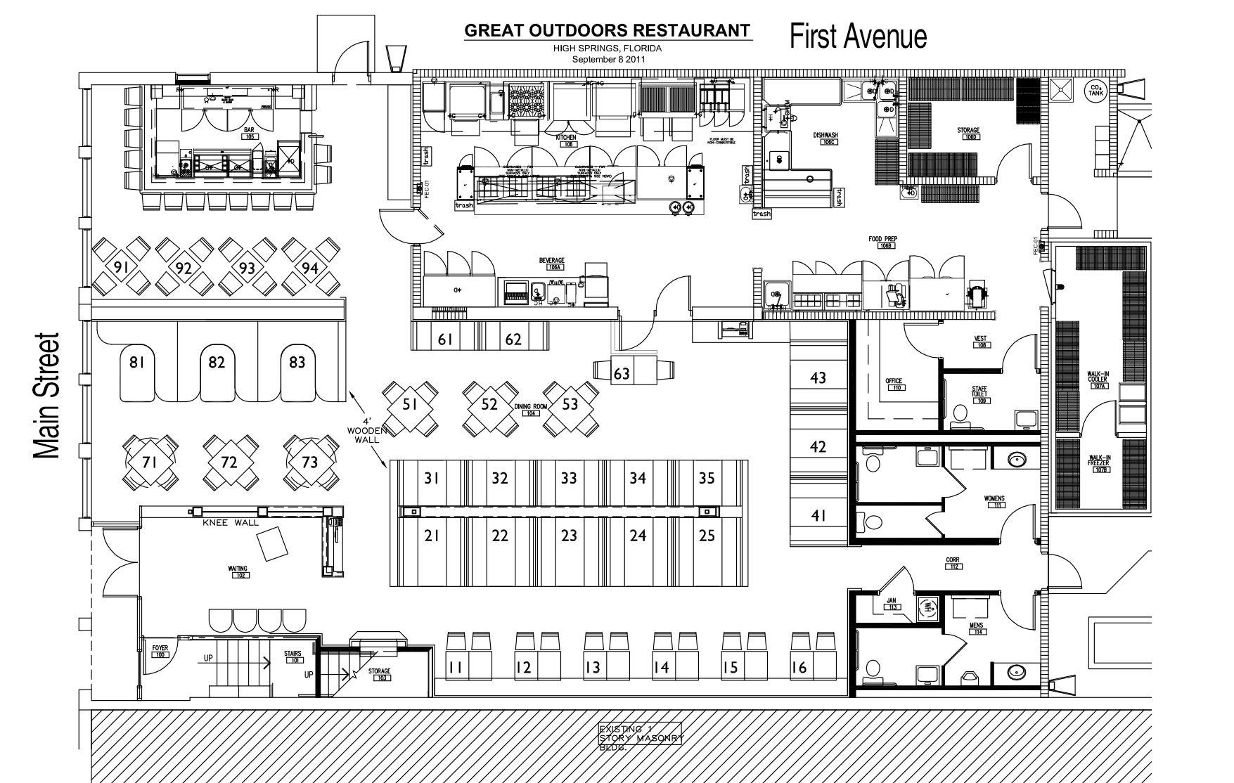 The Great Outdoors Restaurant Restaurant Floor Plan Restaurant