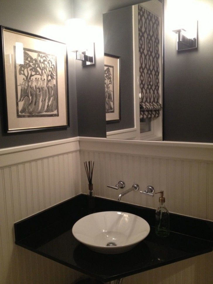 Attractive Elegant Powder Room Vanities Design Featuring Square Frameless Wall Mirror  And Gray Wall Painted Great Ideas