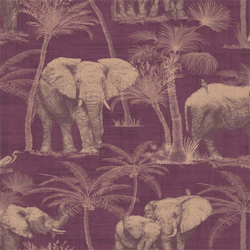 Arthouse Elephant Grove Jungle Embossed Metallic Aubergine