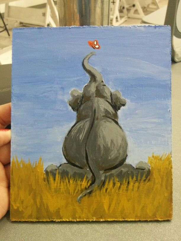 Acrylic painting of an elephant Acrylic painting