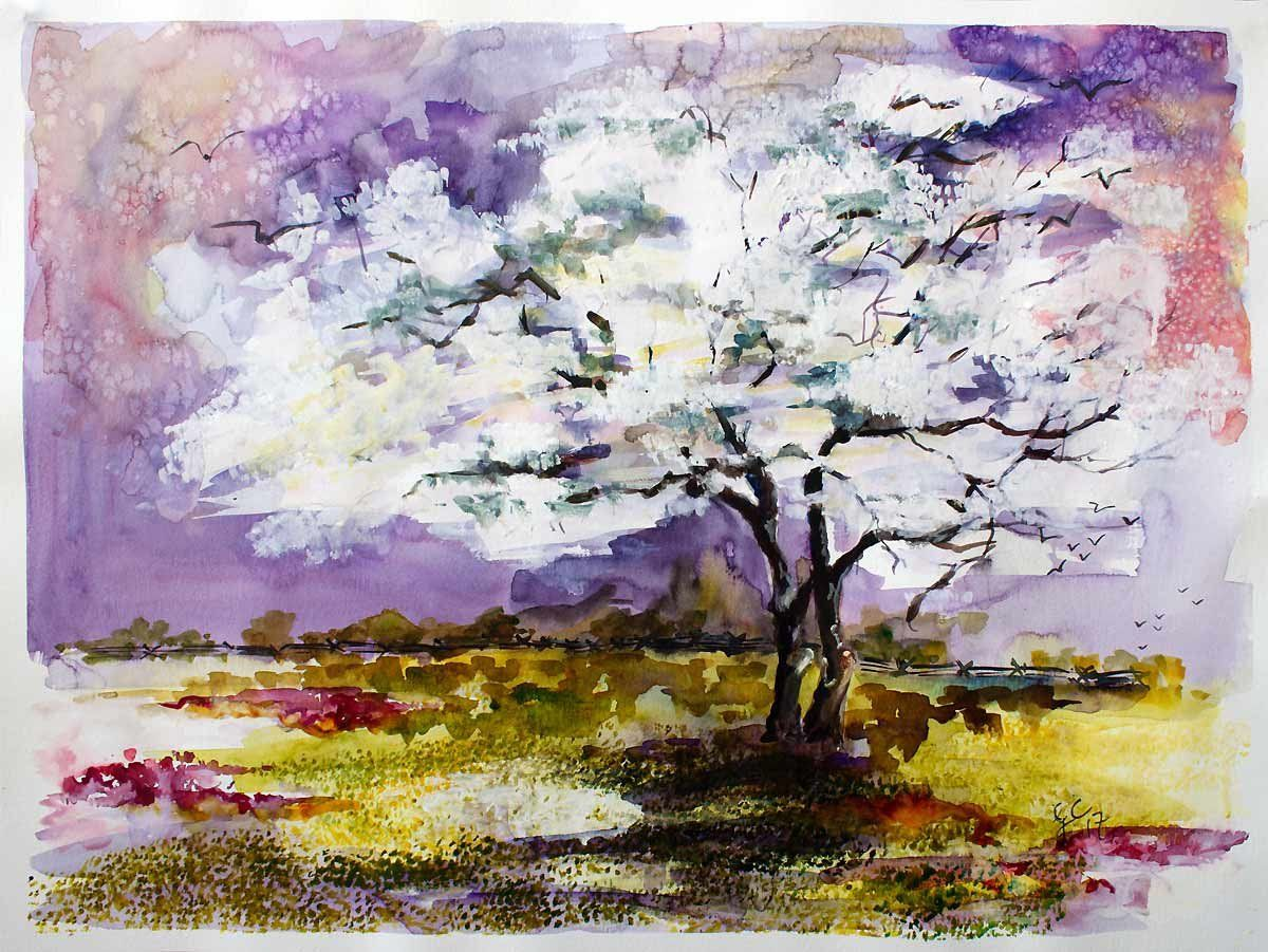 Original Painting Spring In Atlanta Dogwood Tree Watercolor