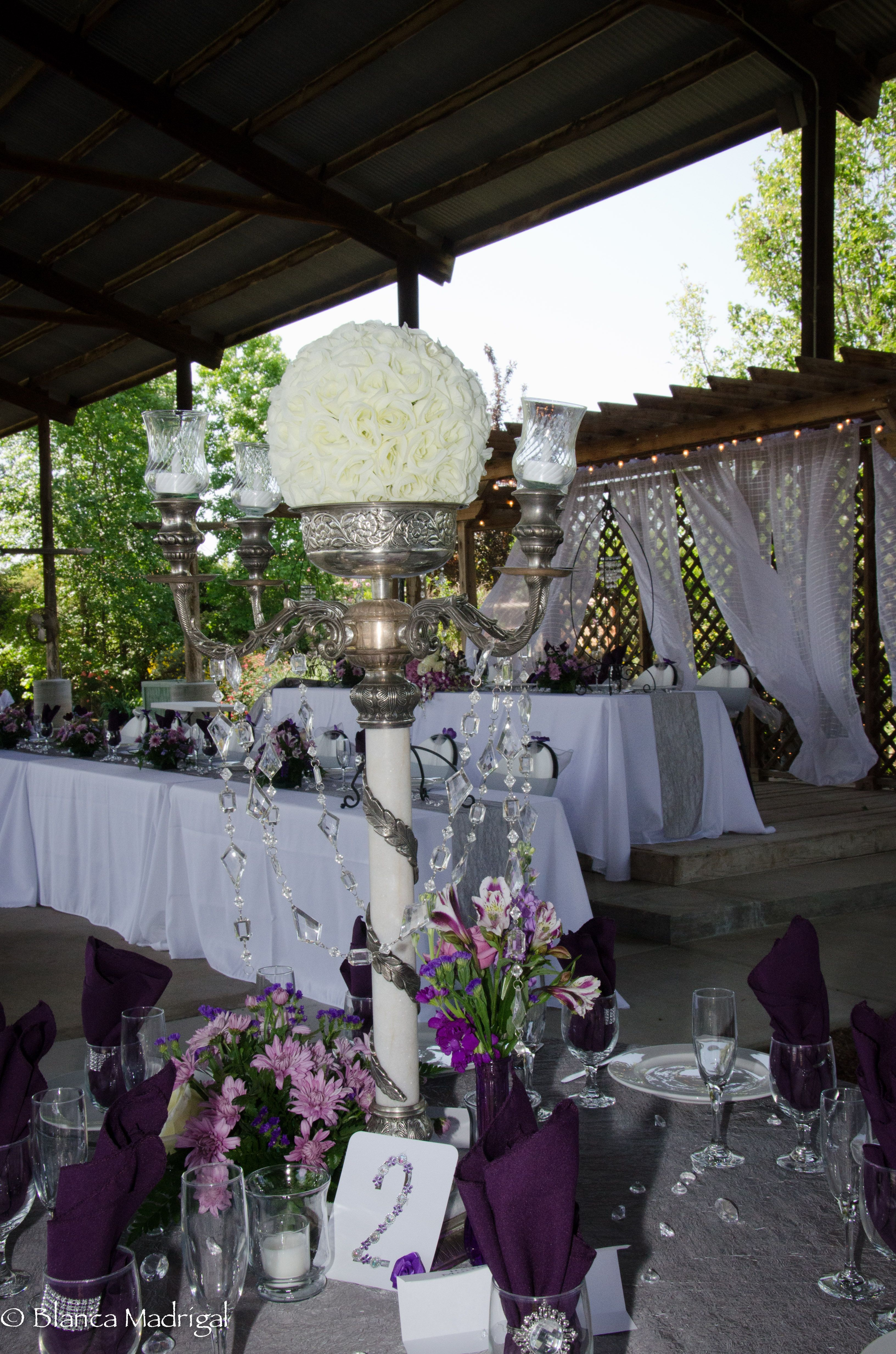 Silver and Plum, Purple Reception Table -Bling and Flowers