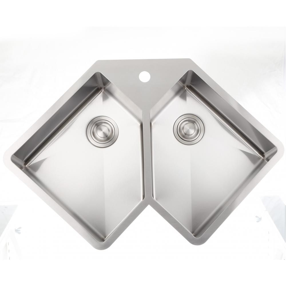 Drop In Stainless Steel 36 375 In 1 Hole 50 50 Double Bowl Kitchen