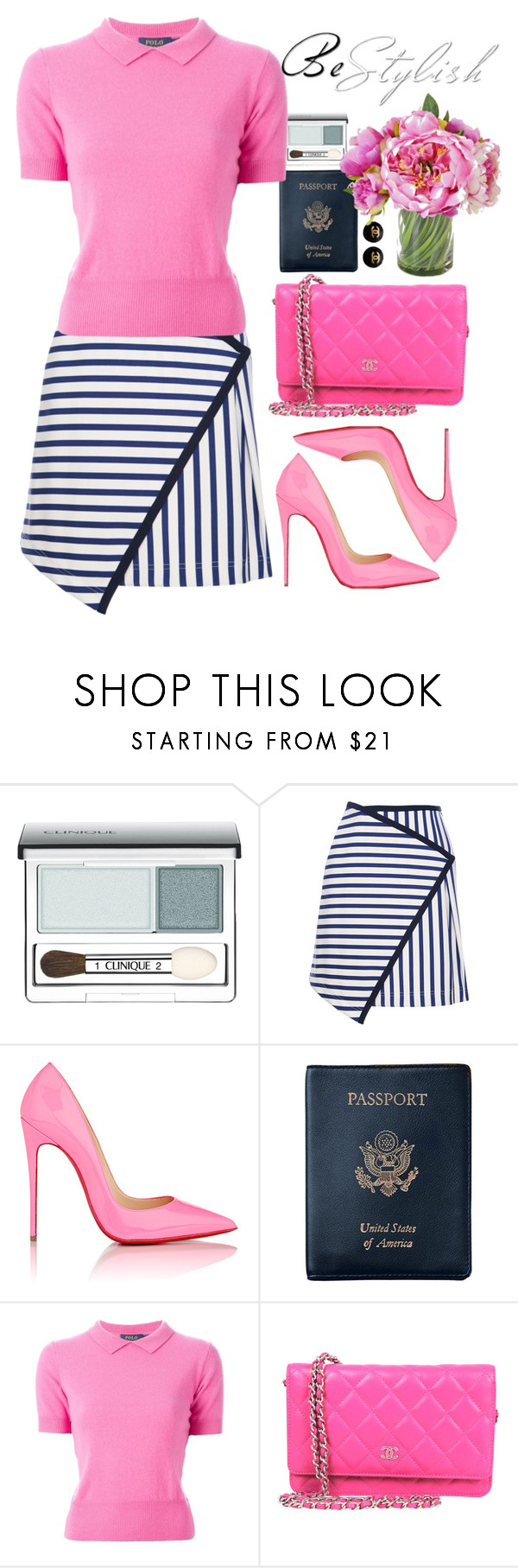 """""""Pink and Navy"""" by crblackflag on Polyvore featuring Clinique, Tanya Taylor, Christian Louboutin, Royce Leather, Polo Ralph Lauren, Chanel, POLO, stripes and christianlouboutin"""