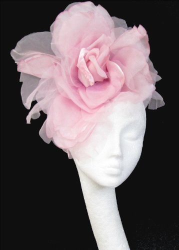 Large Baby Pink Silk Flower Fascinator Hat For Ascot Derby With