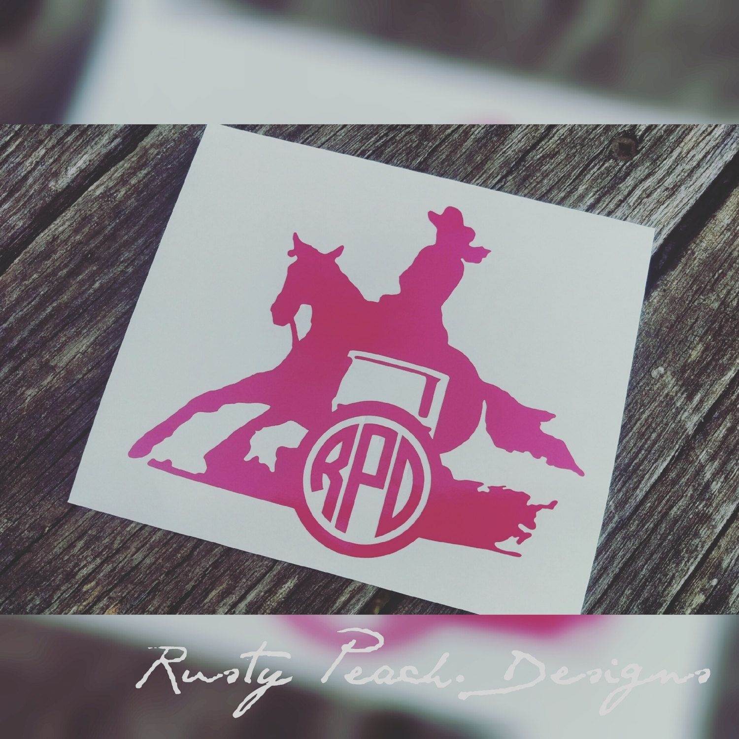 barrel racer vinyl decal  your choice of color  monogram rodeo  horse  cowgirl  monogram gifts