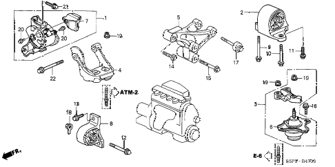 2003 civic LX 2 DOOR 4AT ENGINE MOUNTS (AT) (2) diagram