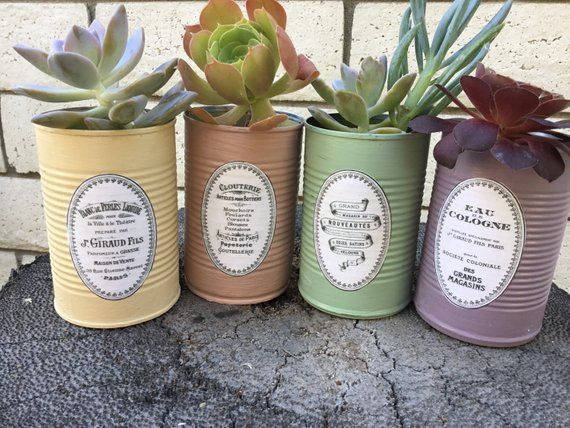 Painted Tin Cans French Decoupage Tin Cans Set of 4 Tin Can | Etsy #tincans