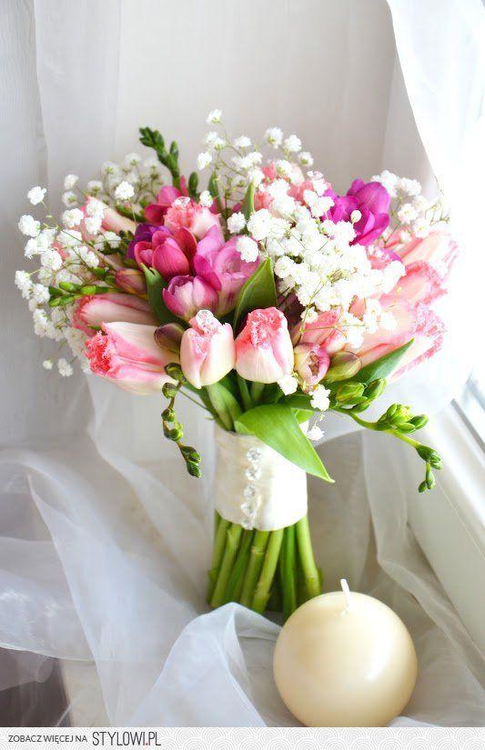 Rozowe Tulipany Z Gipsowka Wedding Decorations Wedding Bouquets Floral Arrangements