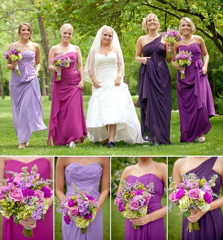Bridesmaids Different Shades Of Purple