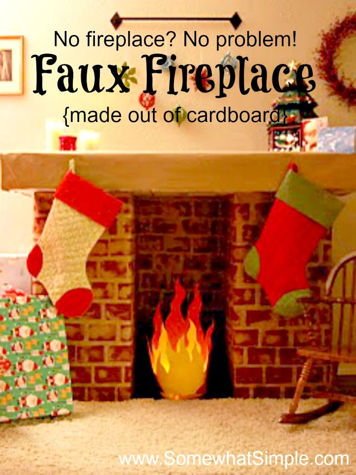 Faux Fireplace Made From Cardboard | Faux fireplace, Apartments ...