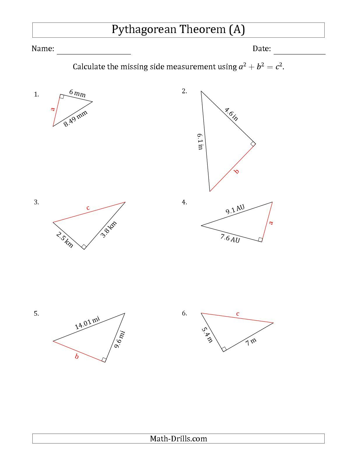 The Calculate a Side Measurement Using Pythagorean Theorem (A)    Pythagorean theorem worksheet [ 1584 x 1224 Pixel ]