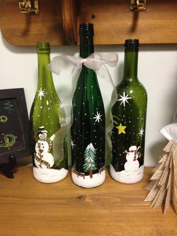 Christmas Bottle Decorations 20 Increíble Artesanías De Navidad Con Botellas De Vidrio  Diy