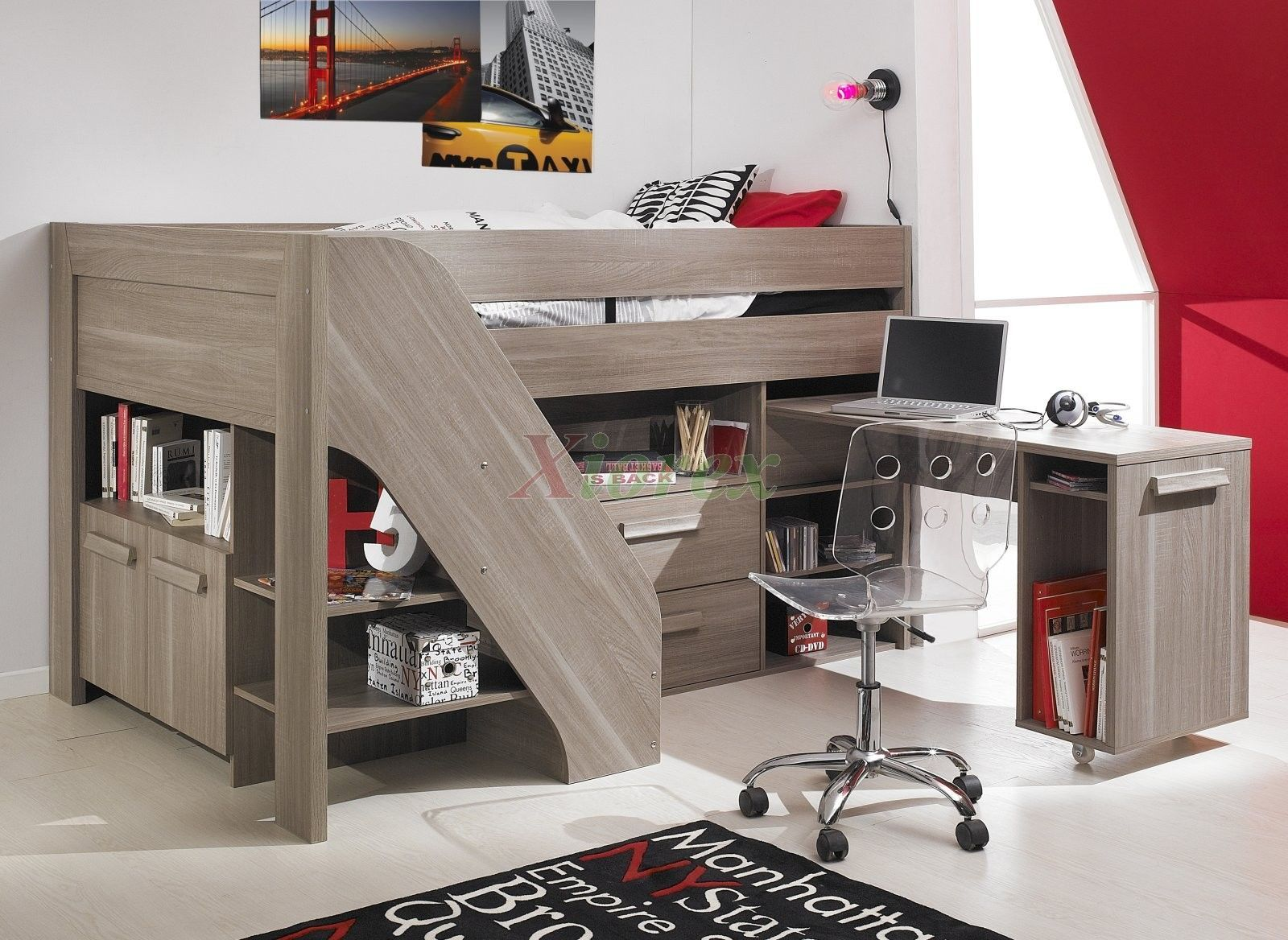 Loft bed with slide out desk  Loft Bed With Stairs And Desk Plans  Finnu s room  Pinterest