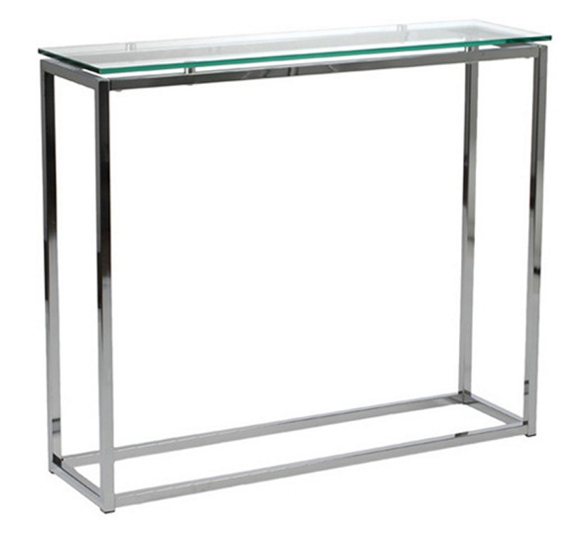 Chrome Base Glass Top Console Table