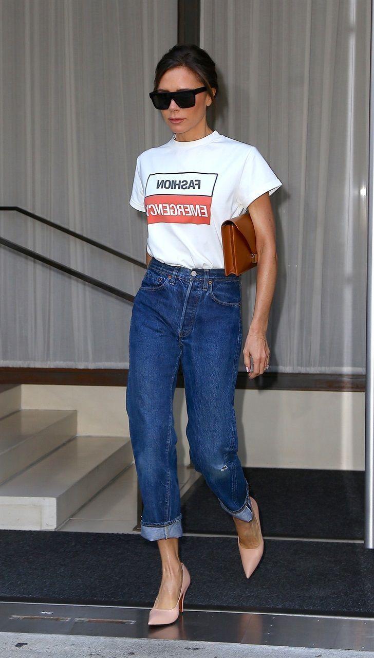 Photo of Victoria Beckham: kommer abbinare T-skjorte og jeans i 5 utseende