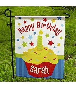 Personalized Birthday Cupcake Garden Flag Birthday Gifts By Personal Creations 9 Personalised 1st Birthday Gifts First Birthday Gifts Happy Birthday Sarah
