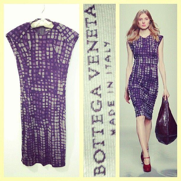 Bottega Veneta $2,160 PF/2012 purple graphic print wool knit runway dress sz.40/S @resaleriches price: $525 www.resalerichesnyc.com