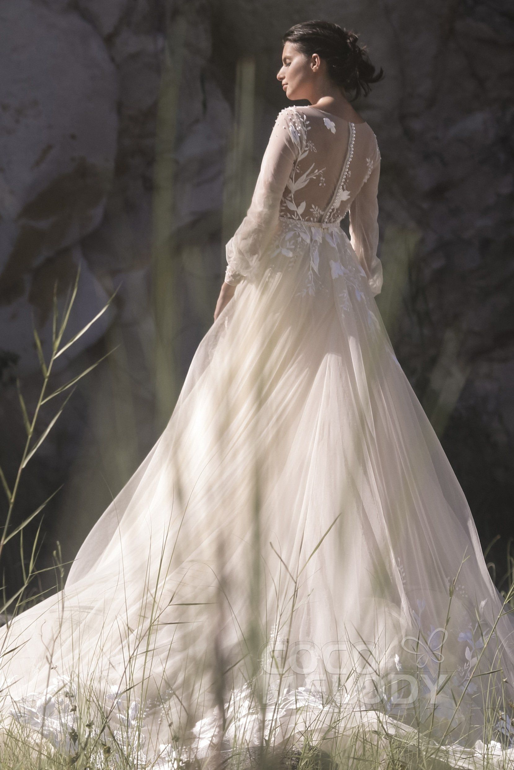 Aline chapel train tulle wedding dress ld dress idea