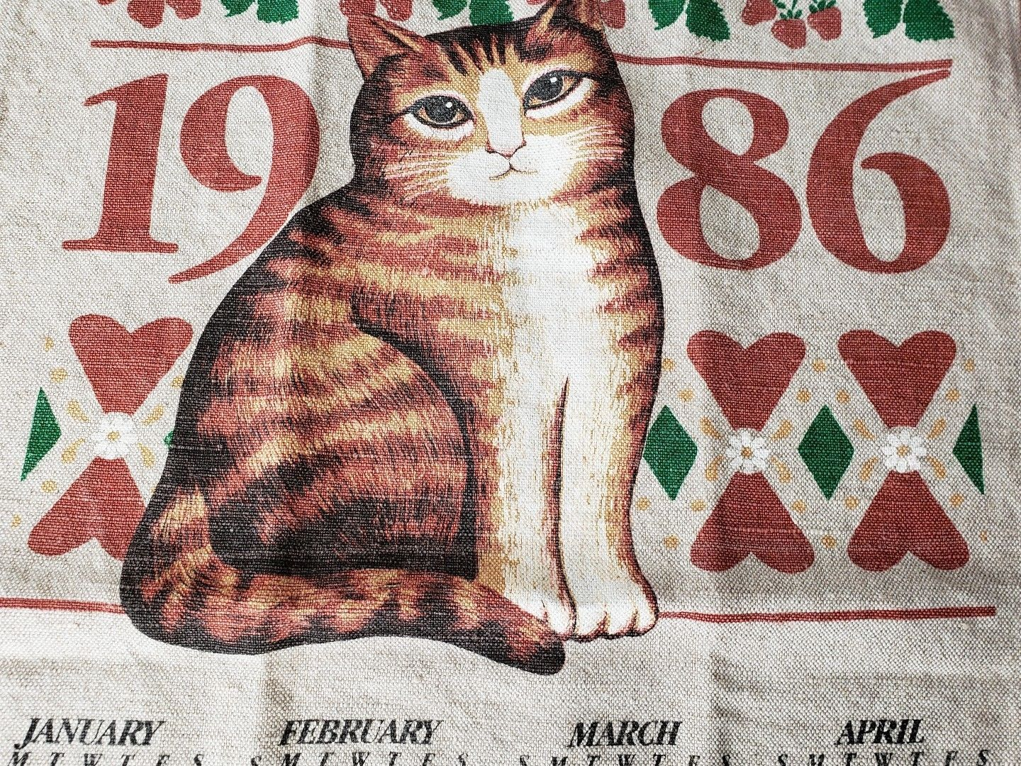 Vintage 1986 Linen Calendar Tea Towel Cat By 23burtonavenue On