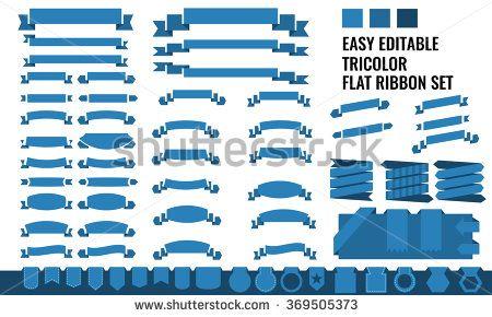 New Vector Set Of Tricolor Flat Long And Short Ribbon Banner